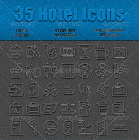 35 hotel icons template download