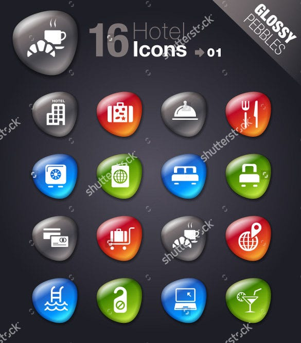 glossy pebble hotel icons