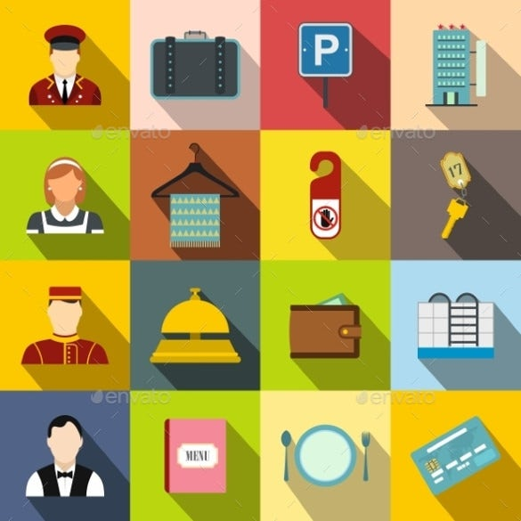 modern coloured hotel icons download