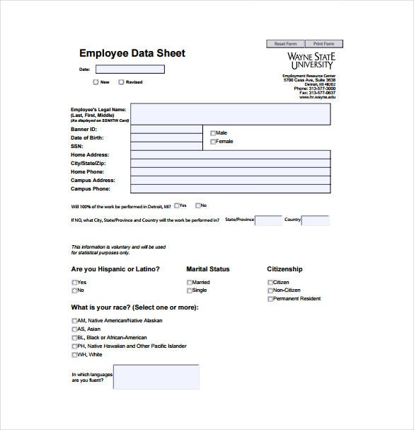 employee data sheet free pdf template download