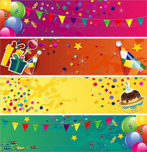 birthday banner colorful template