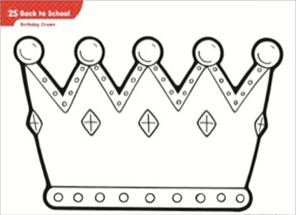 Princess Birthday Crown Pattern Template