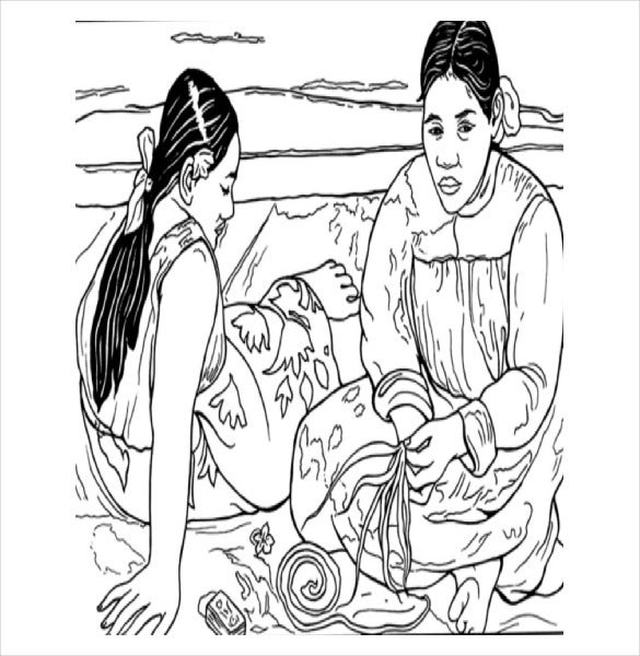 gaugin adult coloring page pdf free download