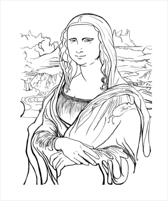 monalisa adult coloring page pdf free download - Mona Lisa Coloring Page Printable