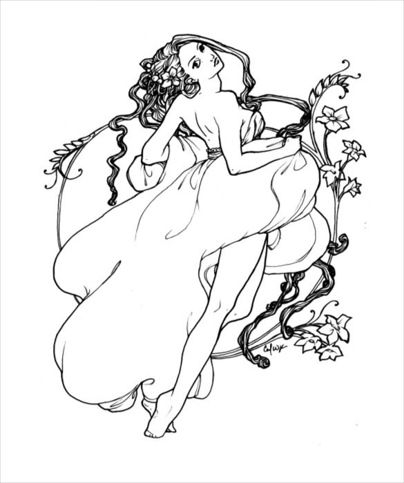 dancer adult coloring page pdf free download