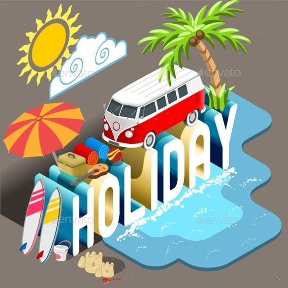 summer holiday postcard template