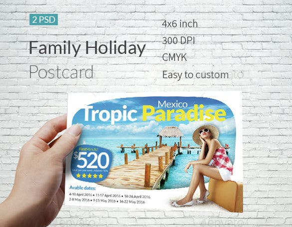 modern holiday postcard template