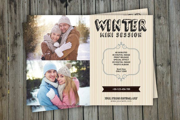 winter holiday mini session postcard template