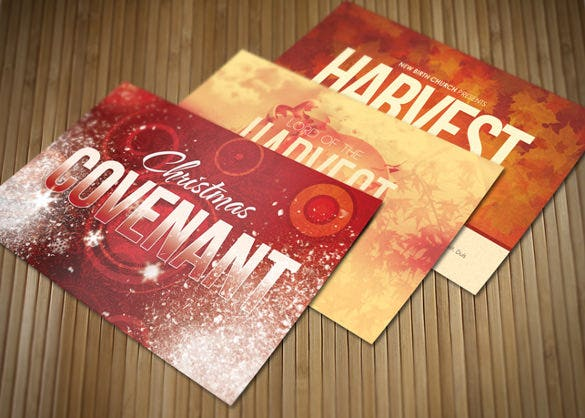 holiday church postcard bundle template