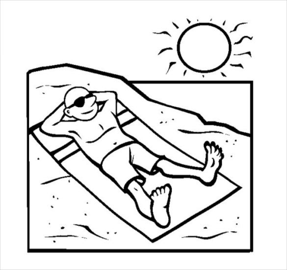 printable beach coloring page pdf free download