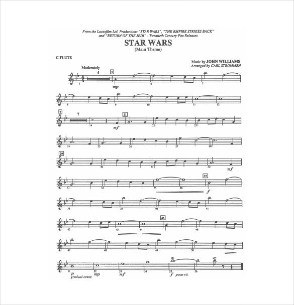 Star Wars Sheet Music Example PDF Template Free Download