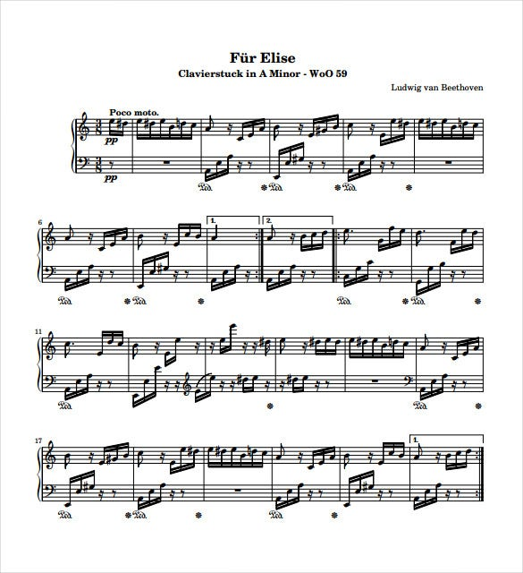 fur elise sheet music free pdf template download