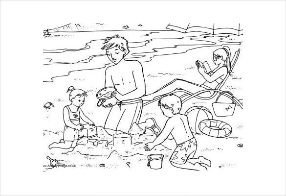 family in beach adult coloring page