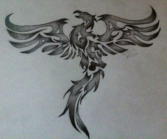 tribal phoenix 2 by drawing in pencil