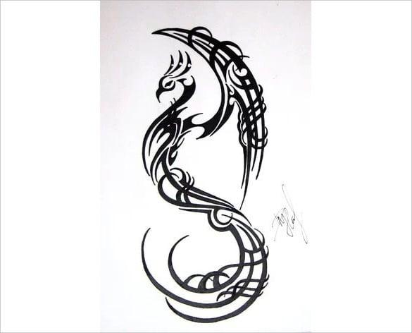triball phoenix bird tattoo drawing