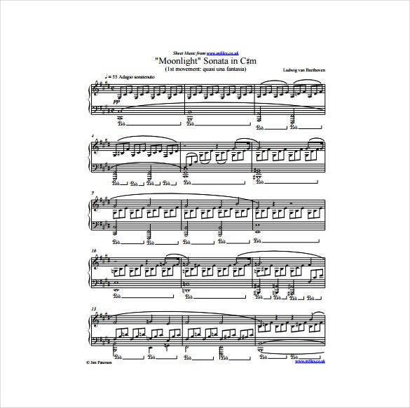 moonlight sonata sheet music pdf template free download