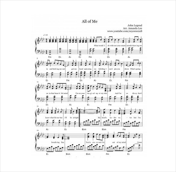 all of me sheet music pdf template free download