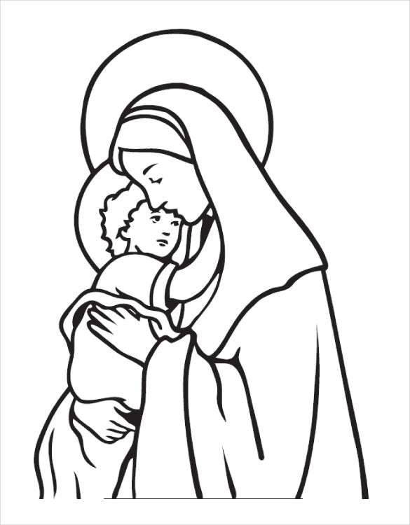 marry and baby jesus coloring page