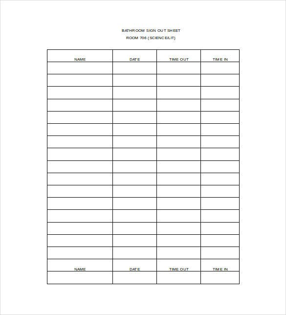 Sign Out Sheet Template 9 Free Word PDF Documents Download – Template for Sign in Sheet