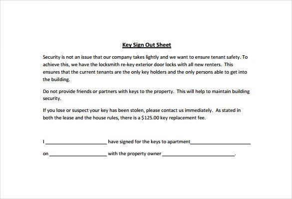 Beautiful Key Sign Out Sheet PDF Template Free Download Nice Design