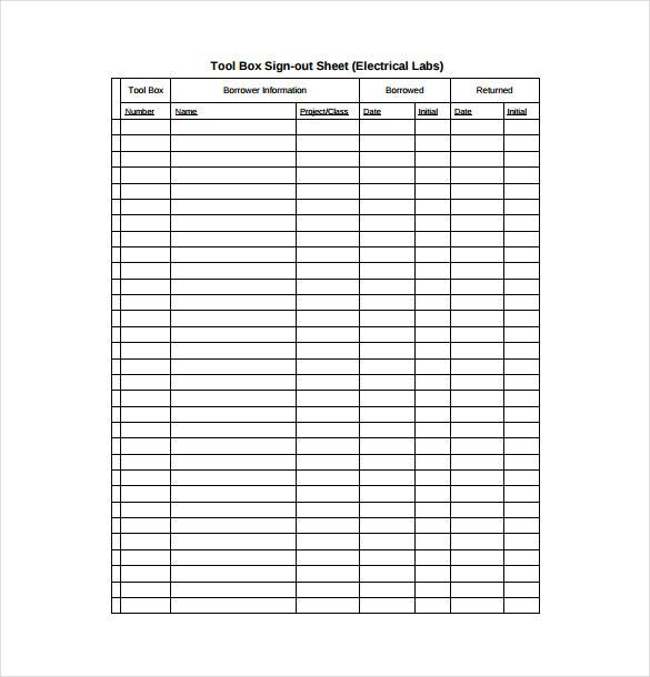 Sign Out Sheet Template 9 Free Word PDF Documents Download – Free Sign in Sheet