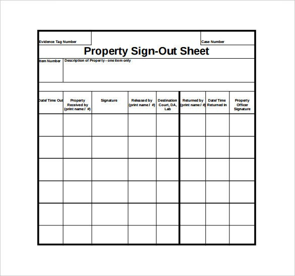 Sample Sign Out Sheet Suyhi Margarethaydon Com