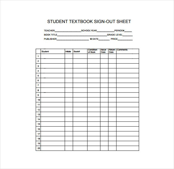 Student Sign Out Sheet  PetitComingoutpolyCo