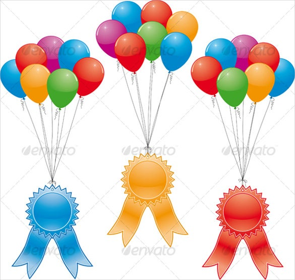vector award ribbons and balloons