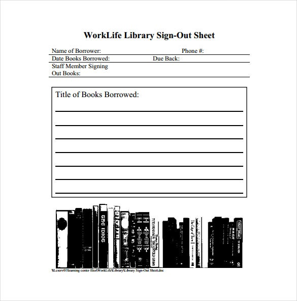 worklife library sign out sheet free pdf template download