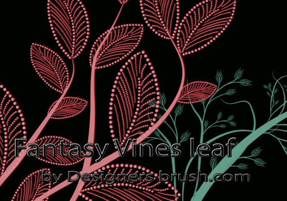 10 fantasy vines leaf brushes