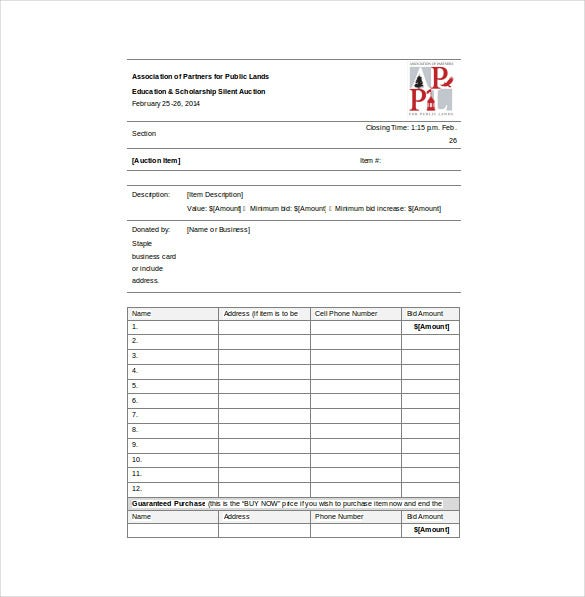 Bid Sheet Templates -11+ Free Sample, Example, Format Download