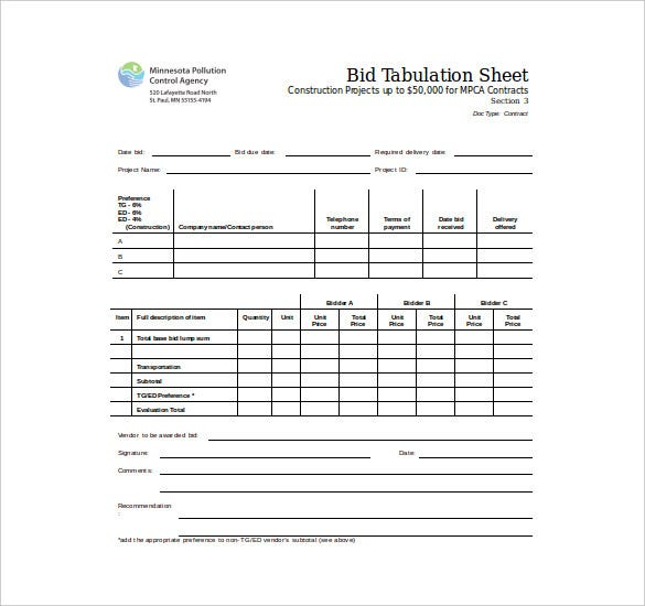 Pca.state.mn.us The Bid Tabulation Sheet Free Of Cost Word Format Template  Is Easy To Download And Edit And Is Also Printer Friendly.  Bid Format