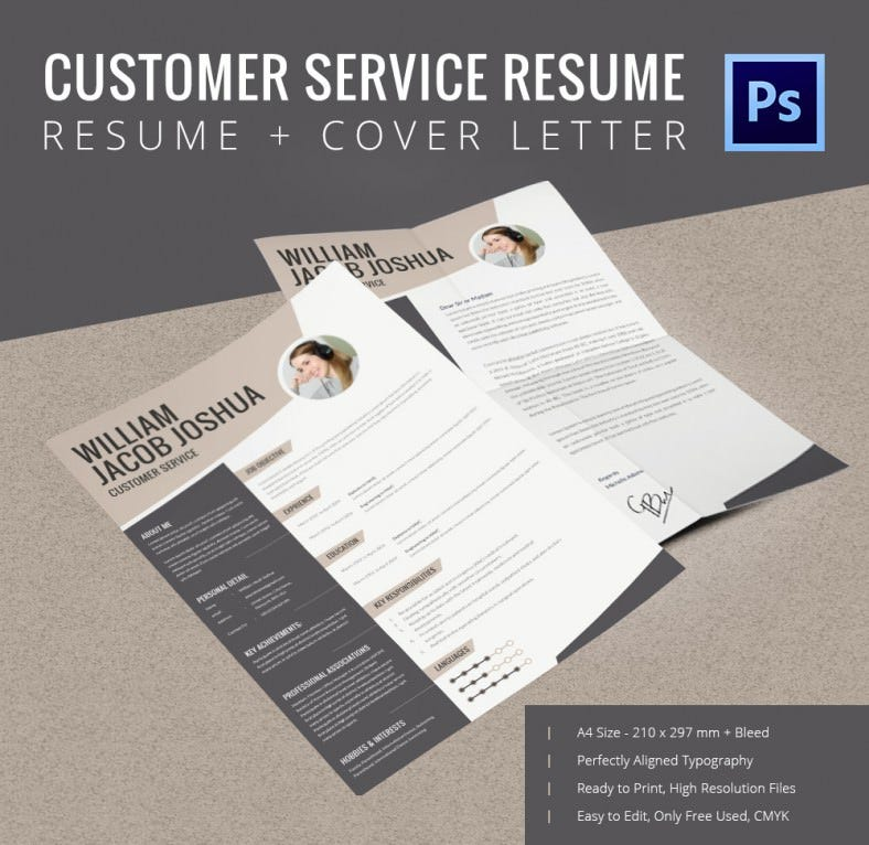 Printable Customer Service Resume + Cover Letter Template. Customer Resume  Mockup  Printable Cover Letter