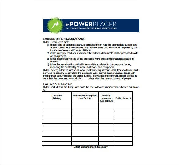Contractor Bid Sheet PDF Format Template Free Download  Bid Format