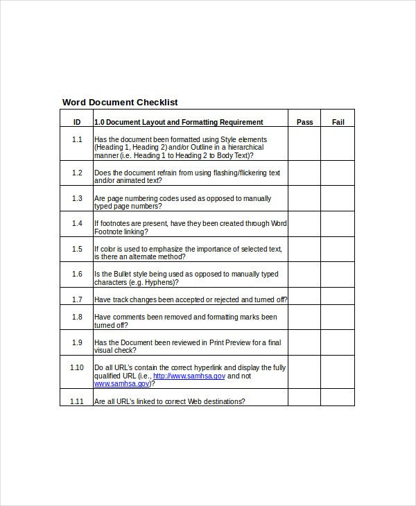 word documentation checklist template
