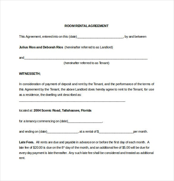 Monthly Room Rental Agreement Word Template