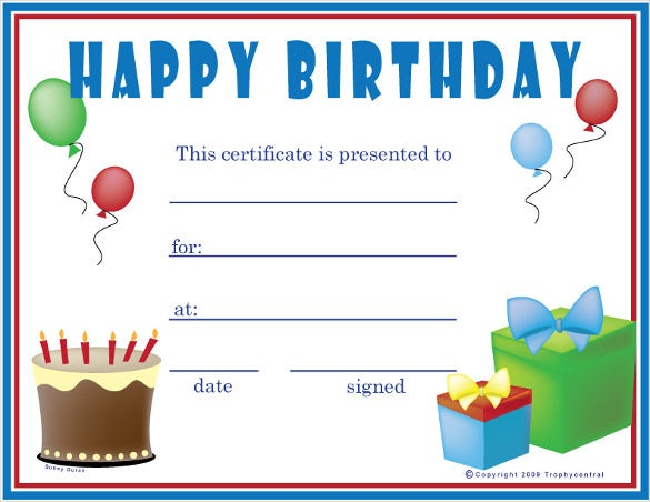 Birthday certificate templates 26 free psd eps in for Printable gift certificate template