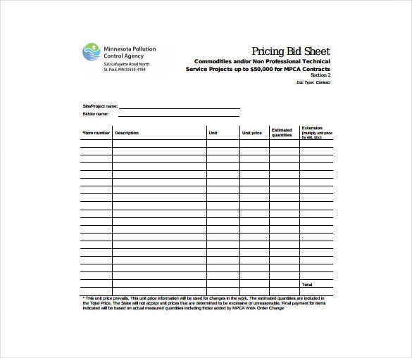 Pricing Bid Sheet Free PDF Template Download