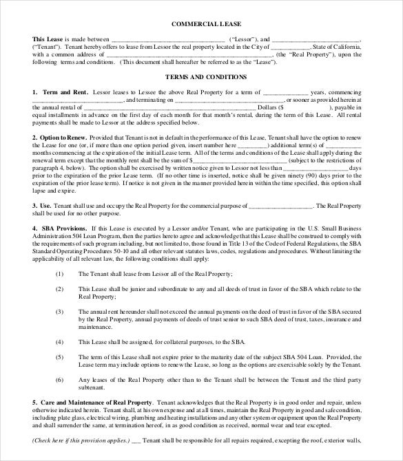 Lease Agreement Template 15 Free Word PDF Documents Download – Commercial Lease Agreement Template Free
