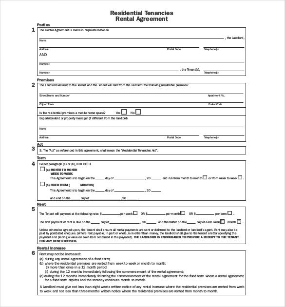 Lease Agreement Template 15 Free Word PDF Documents Download – Rental Agreement Form Template