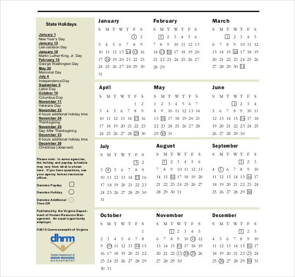 pdf format holiday schedule template