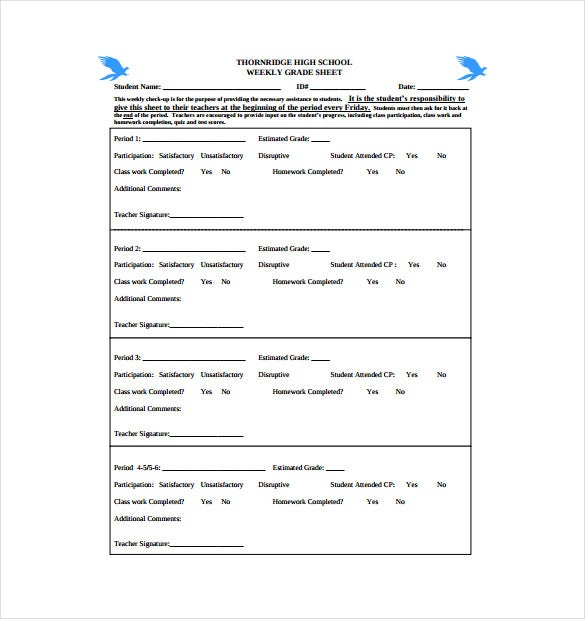 weekly grade sheet free pdf template download