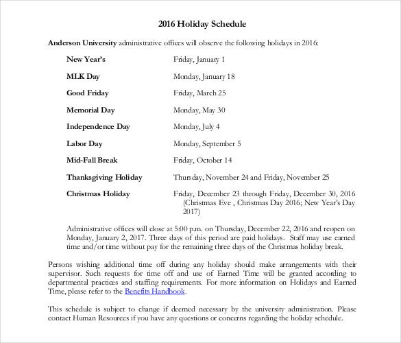 free holiday schedule pdf format template
