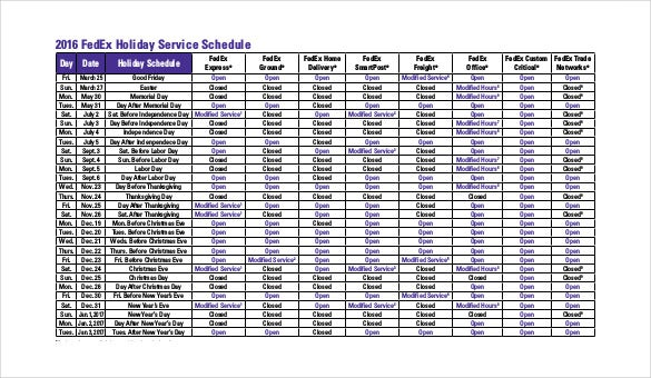 holiday service schedule pdf format free template