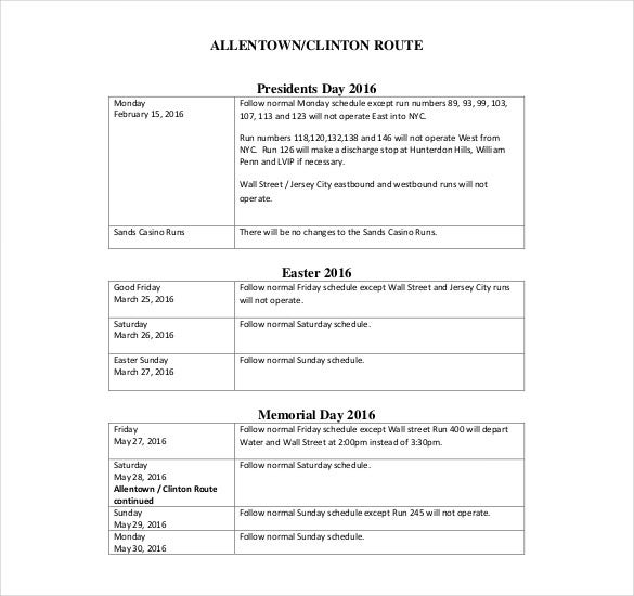 events holiday schedule pdf template