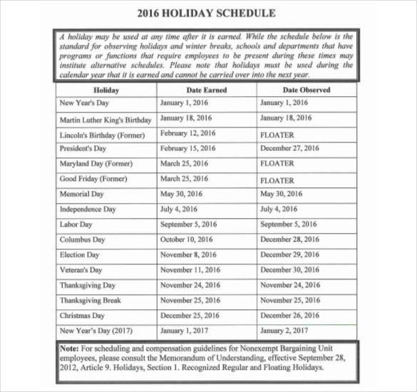 2016 holiday schedule pdf template free download