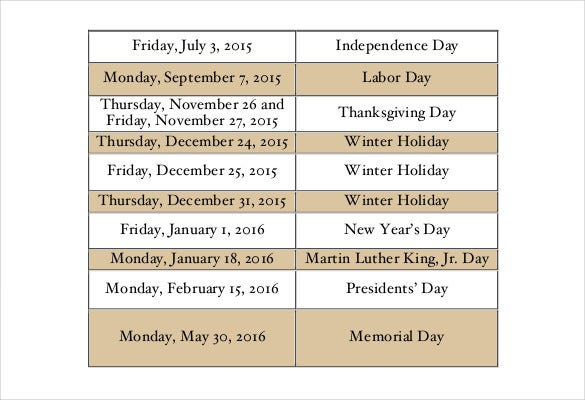 washington university holiday schedule pdf free template