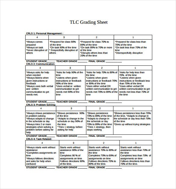 tlc grading sheet pdf free download