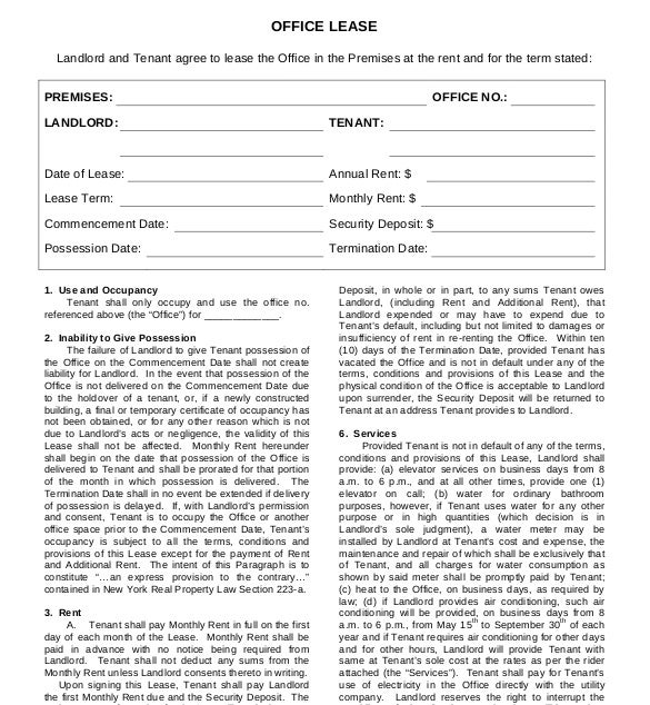 Office Lease Agreement Template
