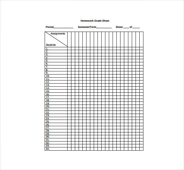 homework grade sheet free pdf template download